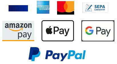 Payez rapidement et en toute sécurité par carte de crédit, Amazon Pay, Apple Pay ou PayPal