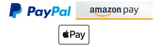 Fast and secure payment with credit card, PayPal Express, Amazon Payments and Apple Pay